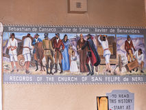 Fresco under a roofed arcade in Albuquerque New Mexico. Street Art depicting the arrival of the Spanish missionaries and settlers to Albuquerque in New Mexico Stock Photo