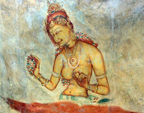 Fresco of unknown author in Sigiriya Stock Photo