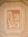 Fresco on Vatican Ceiling. Sculpture on ceiling of the Vatican museum Royalty Free Stock Photography