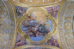 The fresco of virtues of Hope and Truth. On the little cupola of side nave in Basilica dei Santi Ambrogio e Carlo al Corso by Pio Paolini from 1678 - 81, Rome stock photos