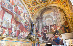 Fresco on the wall (Stanze di Raffaello) in the Vatican Museum in Rome Stock Photo