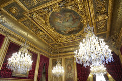 Fresco y lámparas en los apartamentos de Napoleon III Foto de archivo libre de regalías