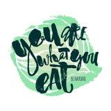 Fresco y motivación natural po de las letras de la mano del concepto de la comida del 100% Fotos de archivo