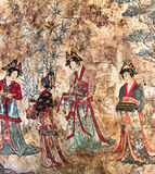Frescoe в могиле Liao mont Bao, в Chifeng, Монголия, Китай Стоковая Фотография RF
