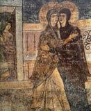Frescoe i helgonet Sophia Cathedral, Kiev, Ukraina Arkivfoto