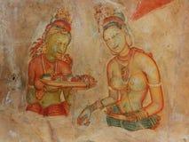 Frescoe of the women at Sigiriya Rock. Sigiriya Rock Fortress At Matale, Sri Lanka Royalty Free Stock Photos