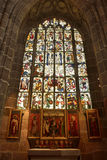 Frescoed fönster av Lorenzkirche i Nuremberg Arkivbild