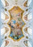 Frescoed Wölbung der Rhetorik in der Kirche des GesÃ-¹ in Palermo Sizilien, Italien stockbild