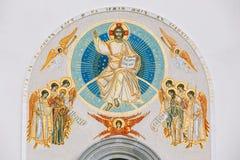 Frescoedmuur van de Al Heiligenkerk in Minsk Stock Foto's