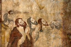 Frescoes in Alquezar, Spain Royalty Free Stock Image