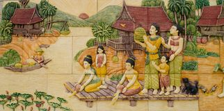 Frescoes of ancient families Thailand. Royalty Free Stock Photography