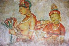 Frescoes at the ancient rock fortress of Sigiriya. Sri Lanka UNESCO Royalty Free Stock Photos