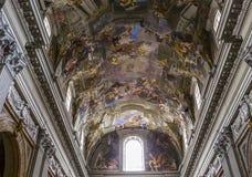 Frescoes of Andrea Pozzo on sant  Ignazio church ceilings, Rome, Ital Stock Photo