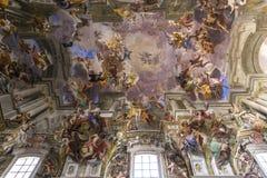 Frescoes of Andrea Pozzo on sant  Ignazio church ceilings, Rome, Ital Royalty Free Stock Photo