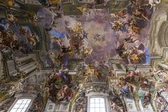 Frescoes of Andrea Pozzo on sant  Ignazio church ceilings, Rome, Ital Stock Images