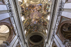 Frescoes of Andrea Pozzo on sant  Ignazio church ceilings, Rome, Ital Royalty Free Stock Images
