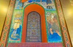 The frescoes around the window Stock Image