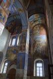 Frescoes av Kristi födelsen av den jungfruliga domkyrkan i den Bogoliubovo kloster, Ryssland arkivbild