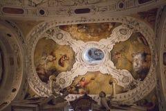 Frescoes on the ceiling of Museo dell`Opera Metropolitana del Duomo, Siena, Tuscany, Italy. Royalty Free Stock Photo