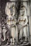 The frescoes in the church Angor Wat. Cambodia. royalty free stock image