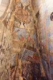 The frescoes in the church in Vardzia, Georgia. Vardzia is a cave monastery site in southern Georgia, excavated from the slopes of the Erusheti Mountain on the stock image