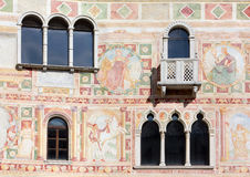 Frescoes on the Exterior Wall of the Castle of Spilimbergo Stock Photos