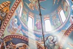 Frescoes för ortodox kyrklig inre och konst royaltyfria foton