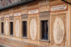 Frescoes on the facade of the Bishop's Seminary, San Miniato,. The frescoes and biblical mottos on the facade of the Bishop's Seminary, painted in 1700 by Royalty Free Stock Photos
