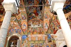 Frescoes från kloster av St John av Rila royaltyfri foto