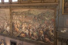 Frescoes by Giorgio Vasari in the Salone dei Cinquecento at Palazzo Vecchio, Florence, Italy. Royalty Free Stock Image