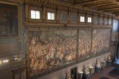 Frescoes by Giorgio Vasari in the Salone dei Cinquecento at Palazzo Vecchio, Florence, Italy. Stock Photography