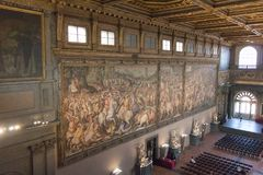 Frescoes by Giorgio Vasari in the Salone dei Cinquecento at Palazzo Vecchio, Florence, Italy. Stock Photos