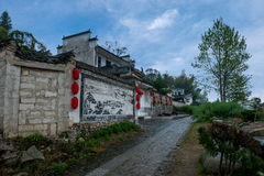 Frescoes of Hongcun Village, Yixian County, Anhui Province. Hongcun is located in one of the six counties of Huizhou, Yixian County, northeast of the whole Stock Photos
