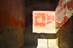 Frescoes in a House in Herculaneum. Red Wall Fresco in Scavi Ercolano, Campania, Italy Stock Photos
