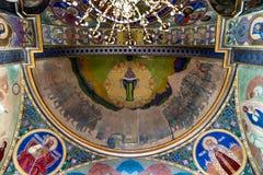 Frescoes i den grekiska katolska kyrkan av den sakrala hjärtan i Zhovkva, Ukraina arkivfoton