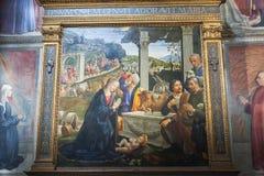 Frescoes i det Sassetti kapellet i basilikan av Santa Trinita, Fl Royaltyfria Bilder