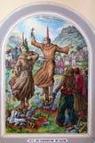 Frescoes i domkyrka för St Stephen ` s i Shkoder, Albanien fotografering för bildbyråer