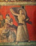 Frescoes i Pompeii ruines, Naples, Italien arkivbilder