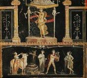 Frescoes i Pompeii ruines, Naples, Italien royaltyfri foto