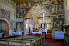 The frescoes in the interior of the gothic church Royalty Free Stock Photo