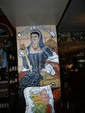 Frescoes in an italian restaurant in East Lancashire England. These frescoes decorate a restaurant very flamboyantly historical themes. They were painted by a royalty free stock photography