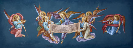 Frescoes in the Monastery of St. Theodora Royalty Free Stock Image