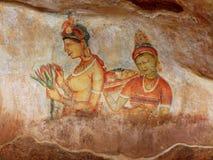 Frescoes på Sigiriya arkivfoto