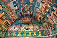 Frescoes and paintings depicting biblical stories. The ancient Moraca Monastery, Montenegro. Moraca Monastery is one of the oldest and most beautiful Stock Photo