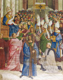 Fresco in Piccolomini Library, Siena. Frescoes & x28;1502& x29; in Piccolomini Library in Siena Cathedral, Tuscany, Italy, by Pinturicchio depicting Pope Pius II Royalty Free Stock Photo