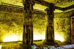 Frescoes przy ścianą grobowiec MeryRe, Wysoki ksiądz Athen w Akhetaten przy Amarna archarological miejscem, Egipt zdjęcia royalty free