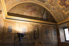 Frescoes by Ridolfo Ghirlandaio, The Chapel of the Priors, Palazzo Vecchio, Florence, Italy. stock photos