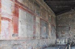 Frescoes in a Roman villa, Pompeii. POMPEI, ITALY - SEPTEMBER 10 2013: Frescoes in a Roman villa stock photos