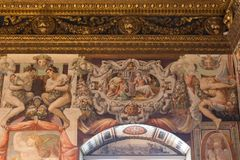 Frescoes in the Sala dell`Udienza in the Palazzo Vecchio, Florence, Italy. Stock Images