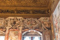Frescoes in the Sala dell`Udienza in the Palazzo Vecchio, Florence, Italy. royalty free stock images